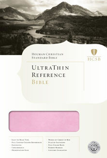 HCSB Ultrathin Reference Bible, Pink/Brown LeatherTouch