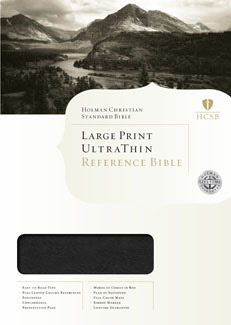 HCSB Large Print Ultrathin Reference Bible, Black LeatherTouch Indexed with Stitching
