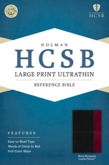 HCSB Large Print Ultrathin Reference Bible, Black/Burgundy LeatherTouch