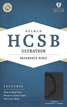 HCSB Ultrathin Reference Bible, Charcoal LeatherTouch Indexed