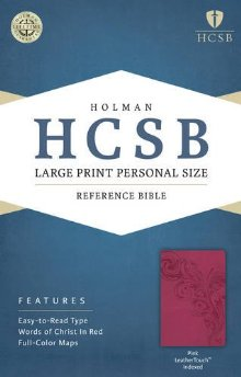 HCSB Large Print Personal Size Bible, Pink LeatherTouch Indexed