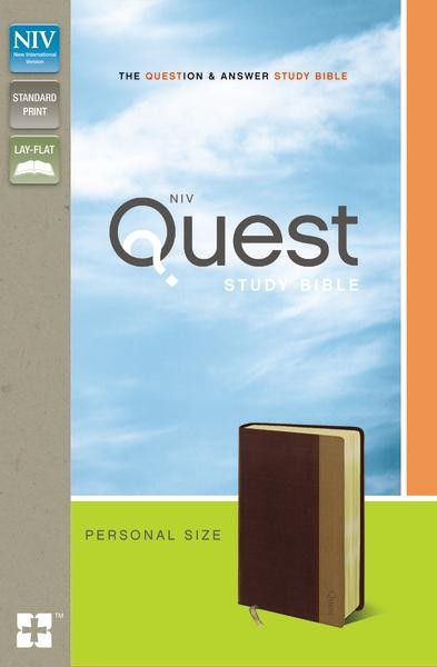 NIV, Quest Study Bible, Personal Size, Leathersoft, Burgundy/Tan: The Question and Answer Bible