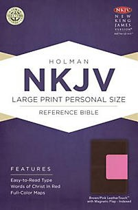 NKJV Large Print Personal Size Reference Bible, Brown/Pink LeatherTouch with Magnetic Flap Indexed *Scratch & Dent*
