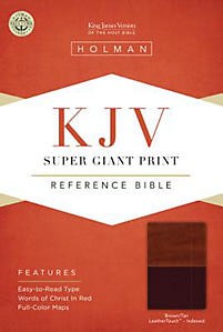 KJV Super Giant Print Reference Bible, Brown/Tan LeatherTouch Indexed