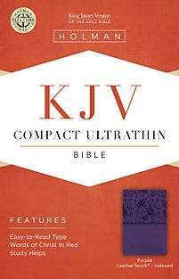 KJV Compact Ultrathin Reference Bible, Purple LeatherTouch, Indexed