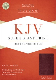 KJV Super Giant Print Bible, Burgundy Genuine Leather Indexed