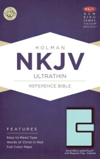 NKJV Ultrathin Reference Bible, Brown/Blue LeatherTouch with Magnetic Flap Indexed