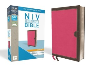 NIV, Thinline Bible, Compact, Leathersoft, Pink/Brown, Red Letter, Comfort Print