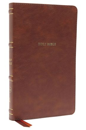 NKJV, Thinline Bible, Leathersoft, Brown, Red Letter, Comfort Print: Holy Bible, New King James Version