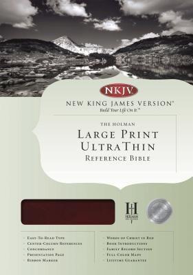 NKJV Large Print Ultrathin Reference Bible, Mahogany LeatherTouch