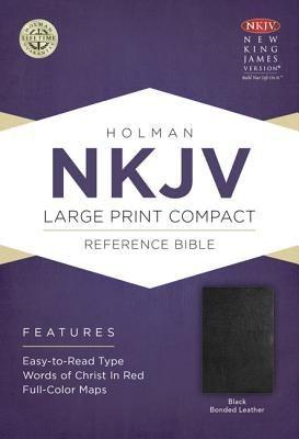 NKJV Large Print Compact Reference Bible, Black Bonded Leather