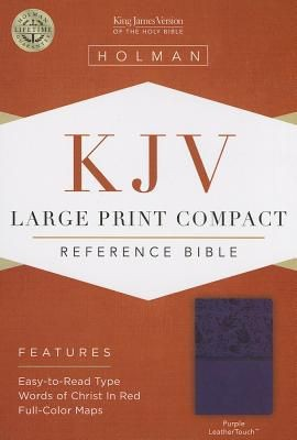 KJV Large Print Compact Reference Bible, Purple LeatherTouch