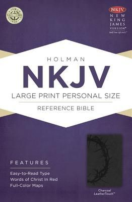 NKJV Large Print Personal Size Reference Bible, Charcoal LeatherTouch