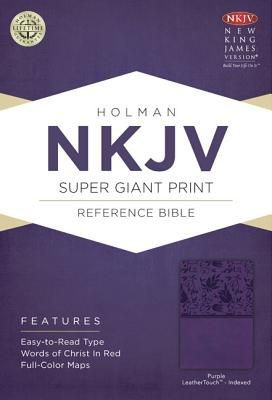 NKJV Super Giant Print Reference Bible, Purple LeatherTouch Indexed *Scratch & Dent*