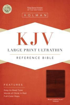 KJV Large Print Ultrathin Reference Bible, Brown LeatherTouch Indexed