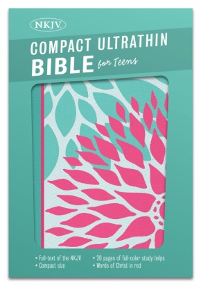 NKJV Compact Ultrathin Bible for Teens, Green Blossoms LeatherTouch