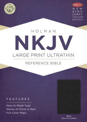 NKJV Large Print UltraThin Reference Bible, Black Genuine Leather