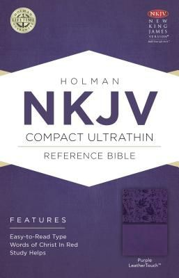 NKJV Compact Ultrathin Bible, Purple LeatherTouch
