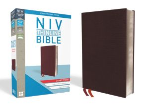 NIV, Thinline Bible, Large Print, Bonded Leather, Burgundy, Red Letter Edition, Thumb Indexed, Comfort Print