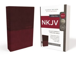 NKJV, Value Thinline Bible, Compact, Leathersoft, Burgundy, Red Letter Edition, Comfort Print: Holy Bible, New King James Version
