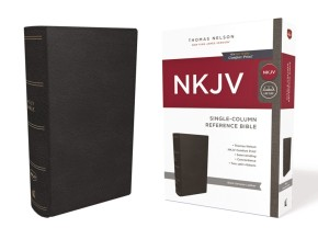 NKJV, Single-Column Reference Bible, Genuine Leather, Black, Comfort Print: Holy Bible, New King James Version