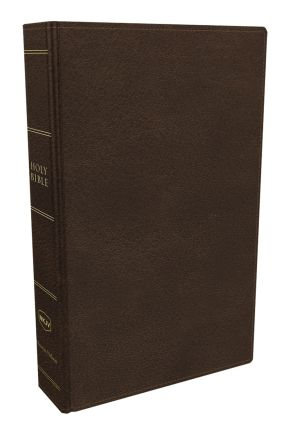 NKJV, Preaching Bible, Premium Calfskin Leather, Brown, Comfort Print: Holy Bible, New King James Version *Scratch & Dent*