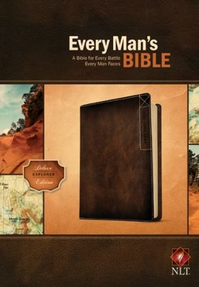 """Every Man's Bible: New Living Translation, Deluxe Explorer Edition (LeatherLike, Brown)€"""" Study Bible for Men with Study Notes, Book Introductions, and 44 Charts"""