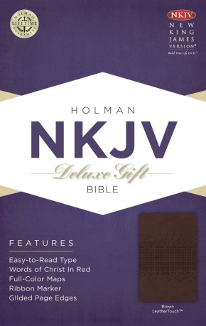NKJV Deluxe Gift Bible, Brown LeatherTouch