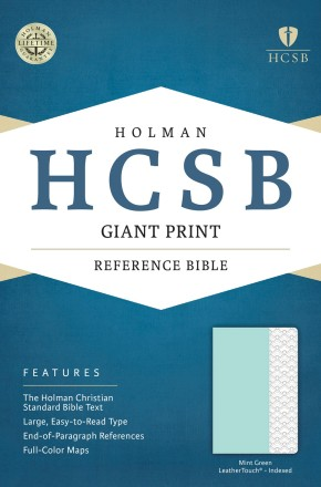 HCSB Giant Print Reference Bible, Mint Green LeatherTouch, Indexed