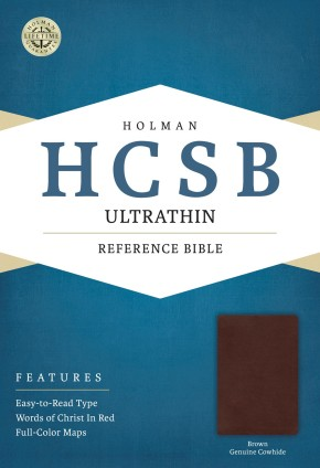 HCSB Ultrathin Reference Bible, Brown Genuine Cowhide
