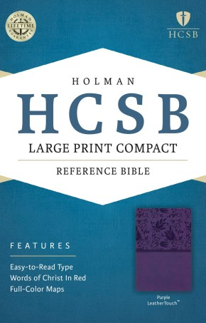 HCSB Large Print Compact Bible, Purple LeatherTouch