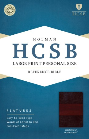 HCSB Large Print Personal Size Bible, Saddle Brown LeatherTouch