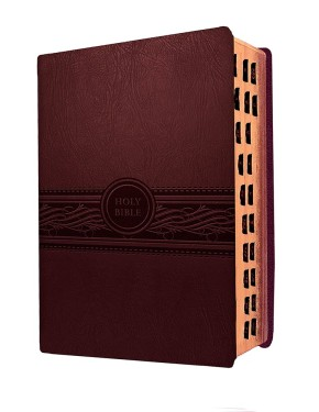MEV Bible Personal Size Large Print Cherry Brown Indexed: Modern English Version