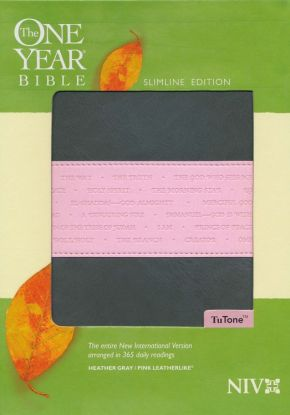 The One Year Bible NIV, Slimline Edition, TuTone (LeatherLike, Heather Gray/Pink)