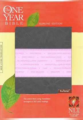 The One Year Bible NLT, Slimline Edition, TuTone (LeatherLike, Heather Gray/Pink)