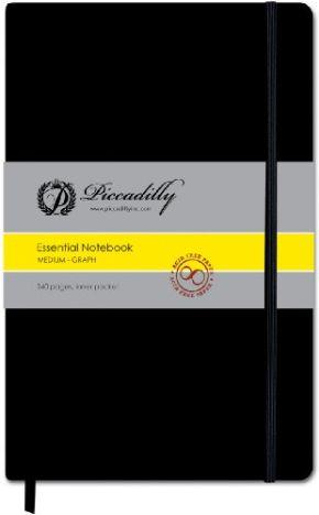 Piccadilly Essential Notebook Medium - Black - Graph