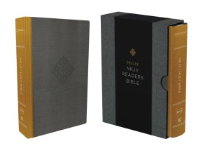 NKJV, Deluxe Reader's Bible, Cloth over Board, Yellow/Gray, Comfort Print *Scratch & Dent*