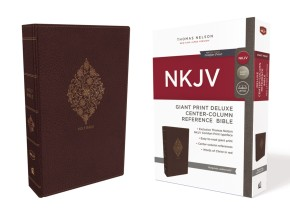 NKJV, Deluxe Reference Bible, Center-Column Giant Print, Leathersoft, Burgundy, Red Letter Edition, Comfort Print: Holy Bible, New King James Version