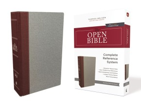 The NKJV, Open Bible, Cloth Over Board, Gray/Red, Red Letter Edition, Comfort Print: Complete Reference System