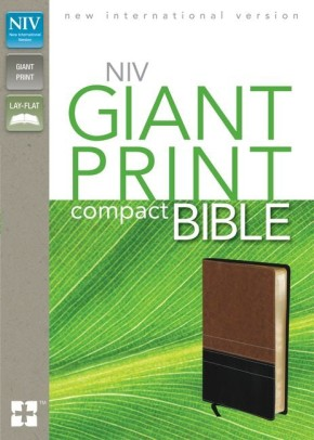 NIV, Giant Print Compact Bible, Large Print, Imitation Leather, Brown & Black