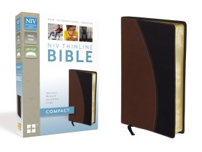 NIV, Thinline Bible, Compact, Imitation Leather, Tan/Black, Red Letter Edition
