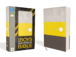 NIV Boys Backpack Bible, Compact, Imitation Leather, Yellow/Charcoal